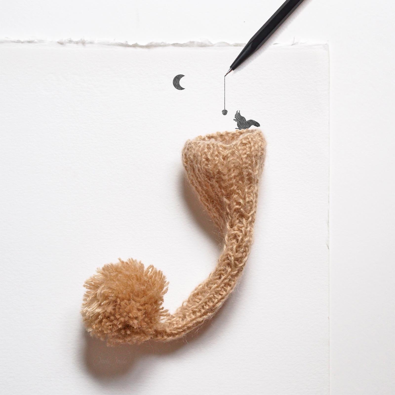 illustration écureuil squirrel caran d'ache laboutiquedemelimelo