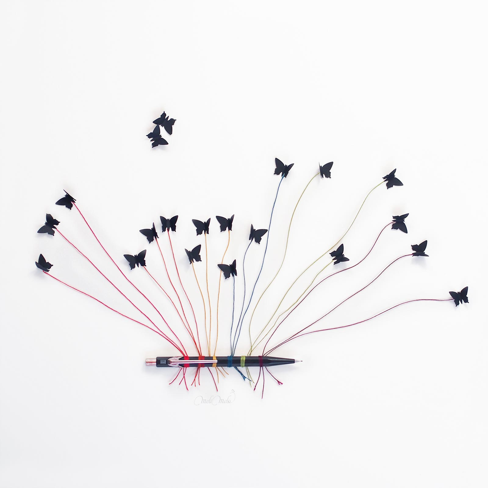 illustration envolée papillons arc-en-ciel butterflies caran d'ache laboutiquedemelimelo