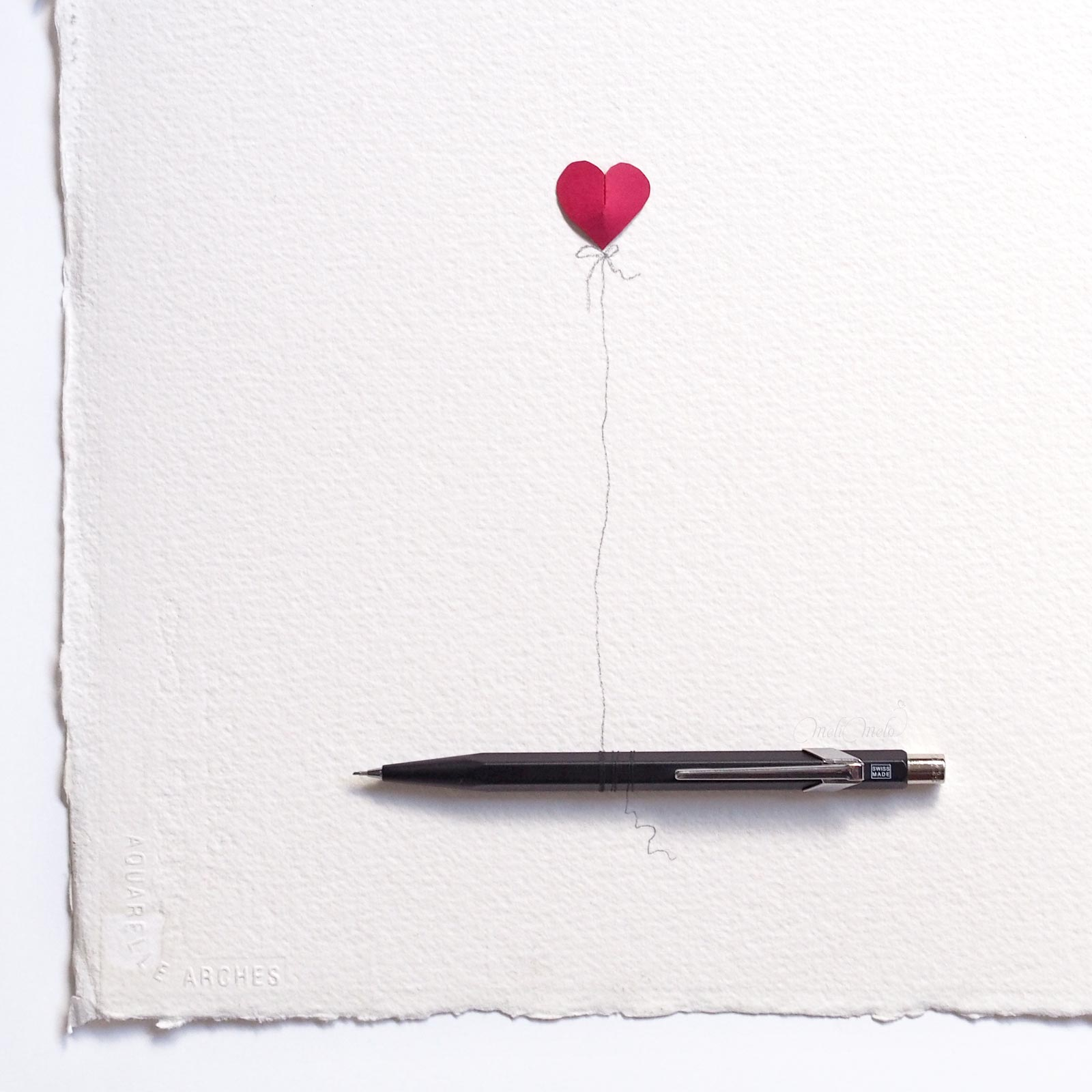 illustration origami coeur heart porte mine hexagonal caran d'ache laboutiquedemelimelo