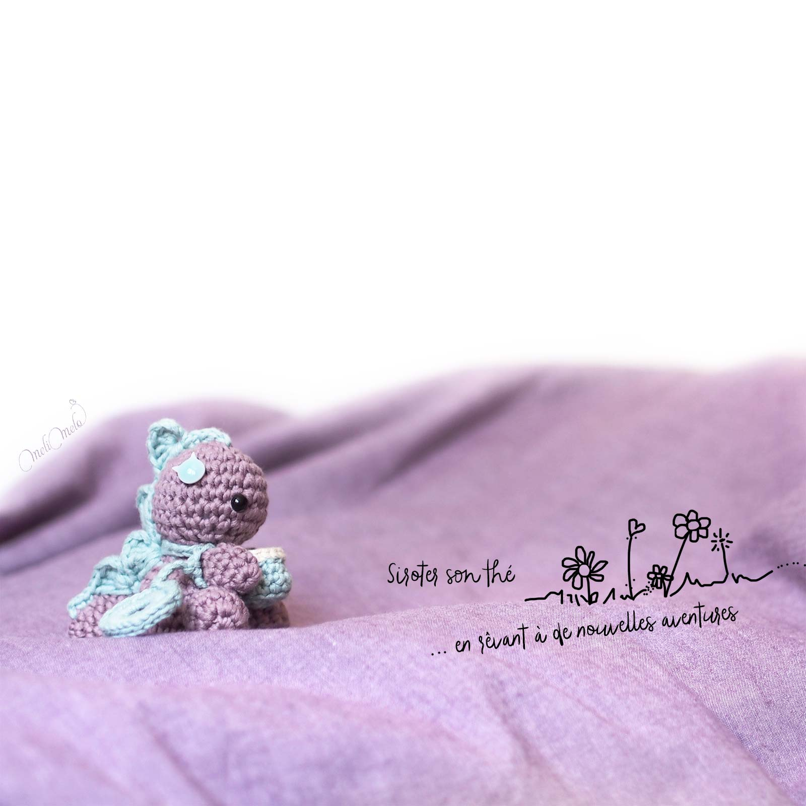illustration siroter son thé bébé Dino dinosaure the cotton wool weareknitters laboutiquedemelimelo