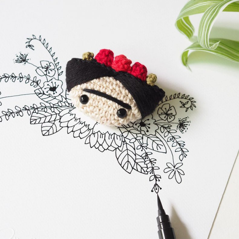 détail illustration florale crochet Frida Kahlo laboutiquedemelimelo