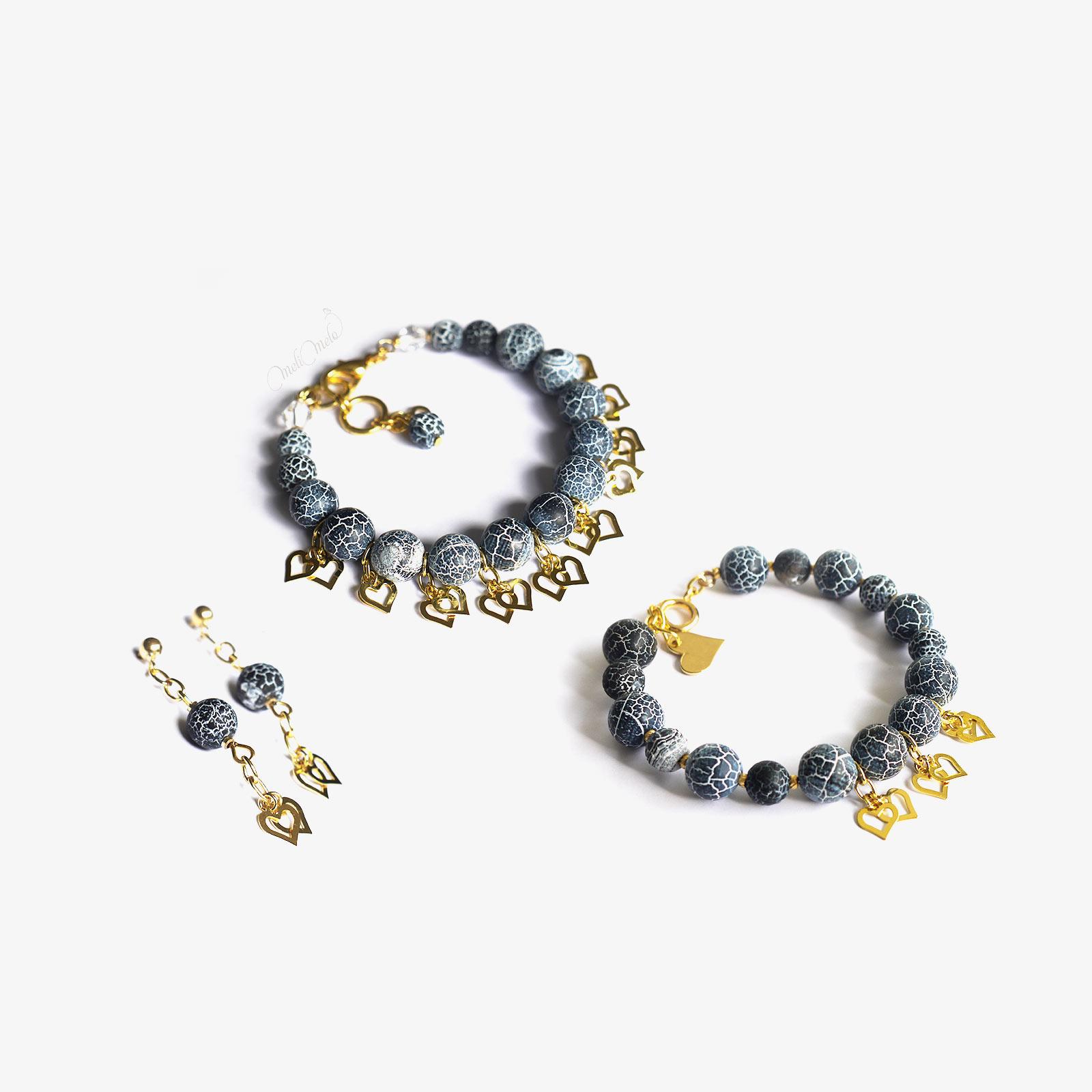 bijoux jaspe agate bleu et coeurs plaque or laboutiquedemelimelo