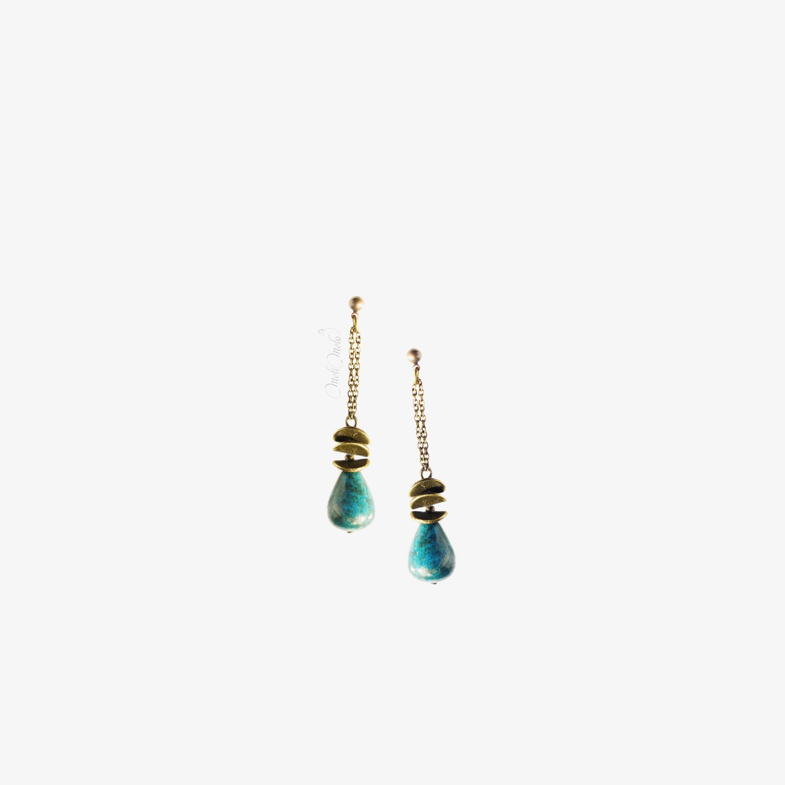 pendants oreille Jaspe bleu japonisant laboutiquedemelimelo