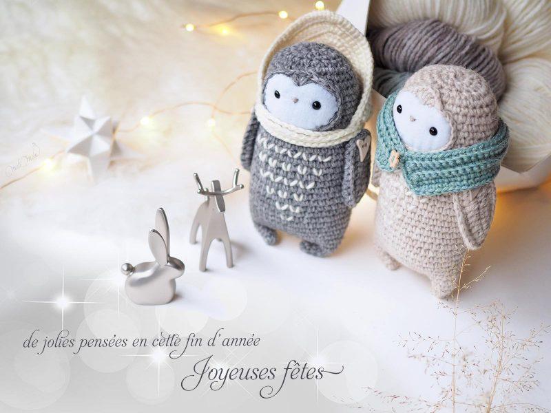 Joyeuses fêtes Bonne année 2018 crochet chouettes cocooning hygge décembre laine alpaca Rico Design laboutiquedemelimelo