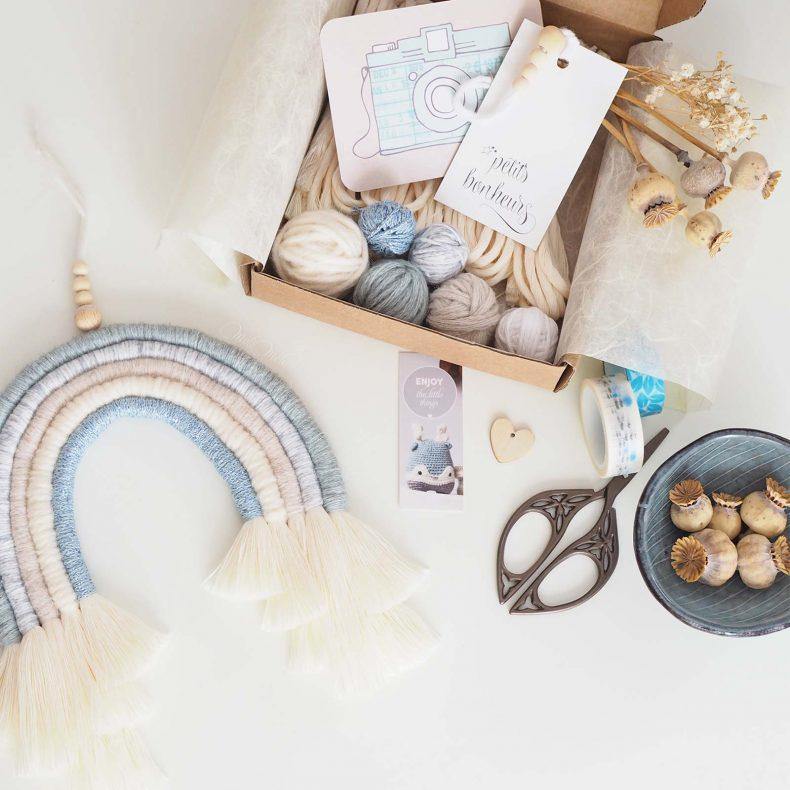 kit-DIY-arc-en-ciel-bleu-paillettes-laine-coton-organique-laboutiquedemelimelo