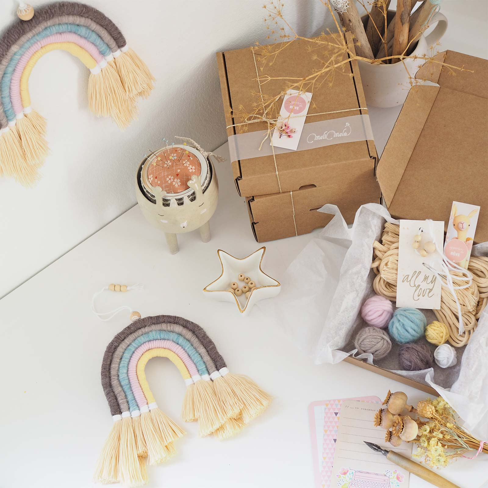 kit DIY enfant adulte arc-en-ciel laine-rainbow wool la boutique de melimelo