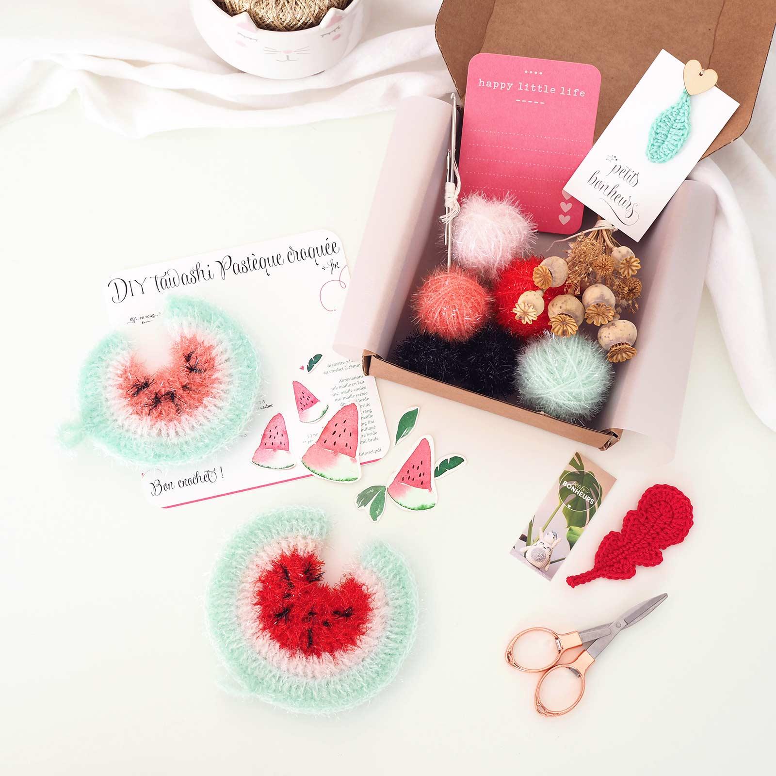 kit DIY tawashi tutoriel éponge pastèque crochet laboutiquedemelimelo