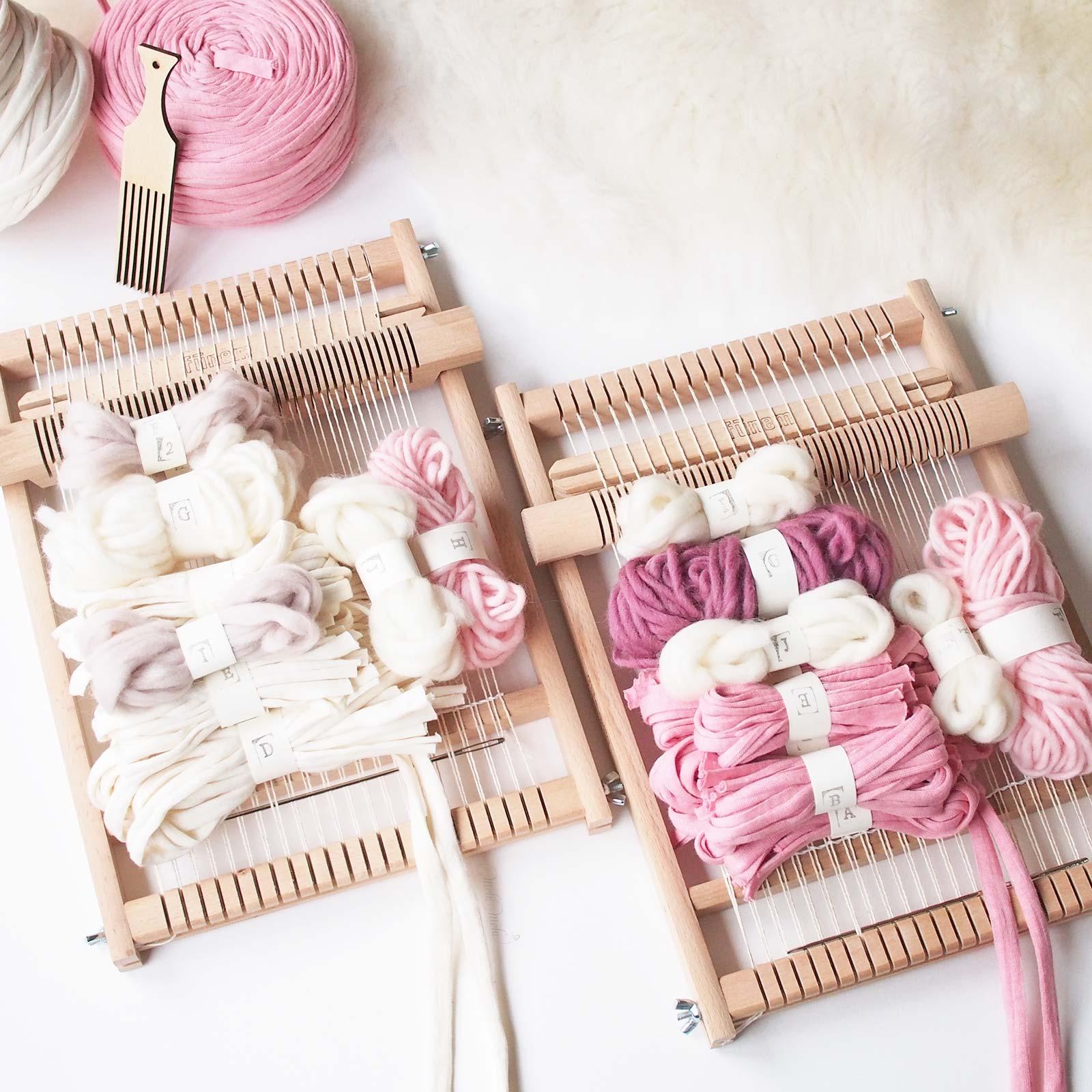 kit de tissage DIY couleurs rose woolandthegang weareknitters funemstudio laboutiquedemelimelo