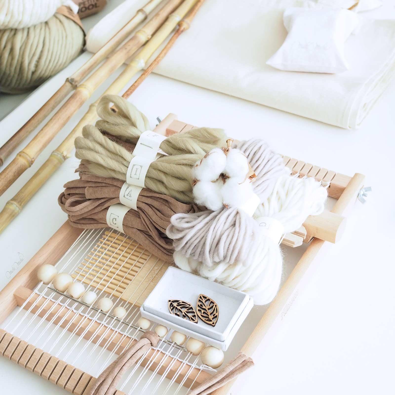 kit de tissage vert-gris modèle DIY Fleur de coton feuilles laboutiquedemelimelo