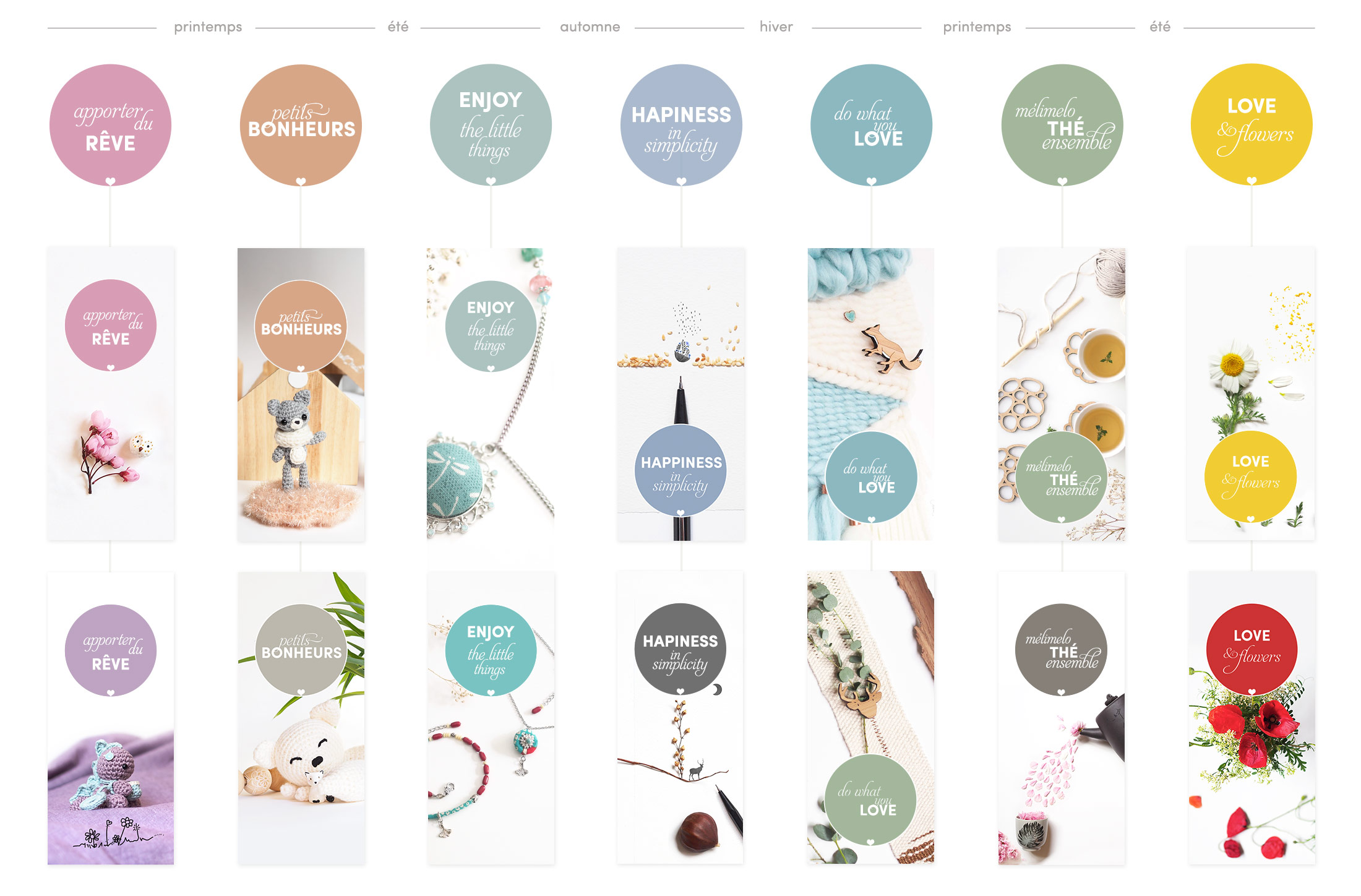 La Boutique de MeliMelo créations mignonneries saisons poésie MooCards identité visuelle HenkaWebs Henka Arquitectos