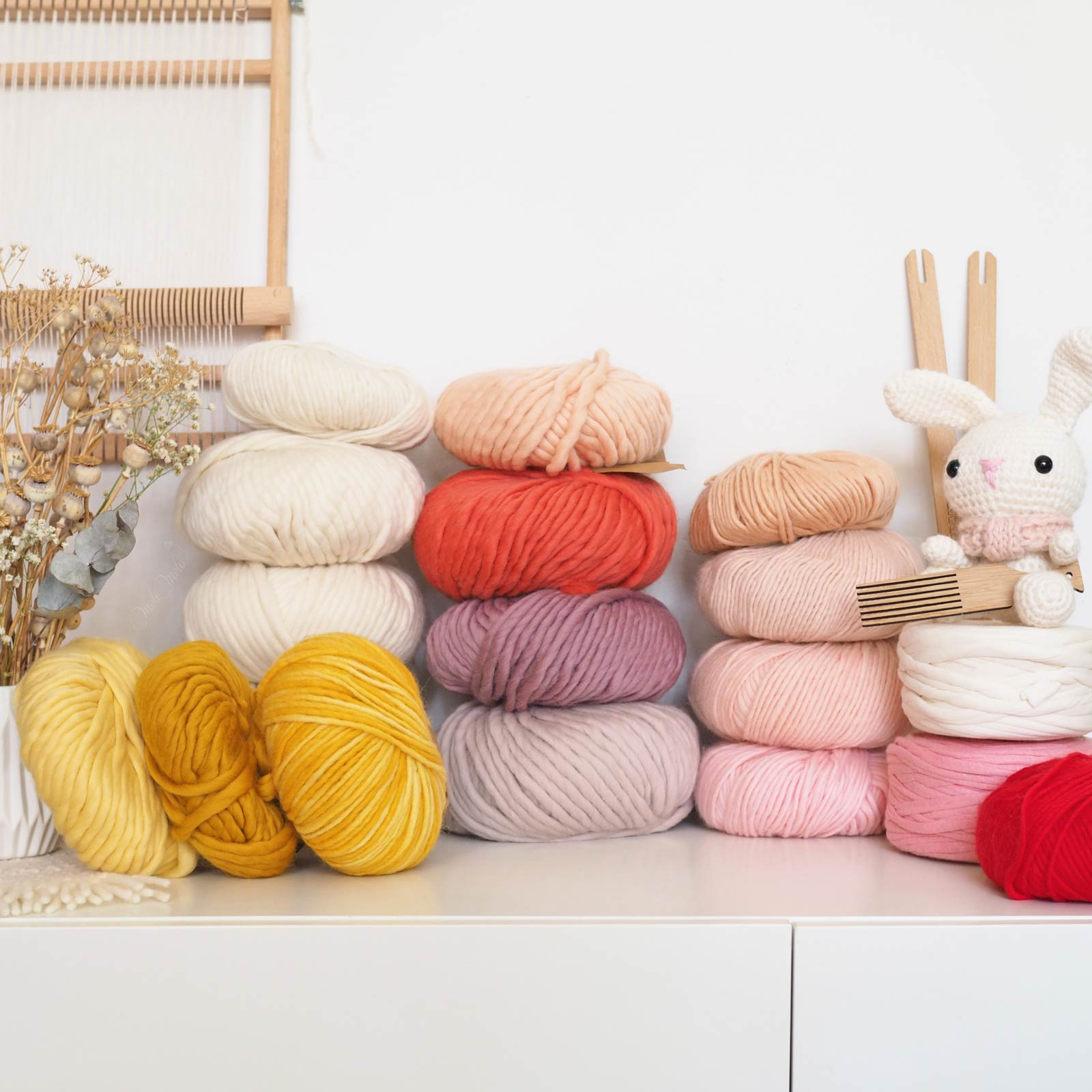 laine kit tissage défi we are knitters wool and the gang rose jaune corail laboutiquedemelimelo
