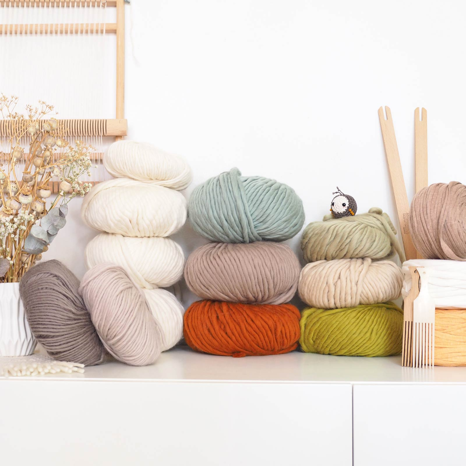laine kit tissage défi we are knitters wool and the gang vert rouille laboutiquedemelimelo