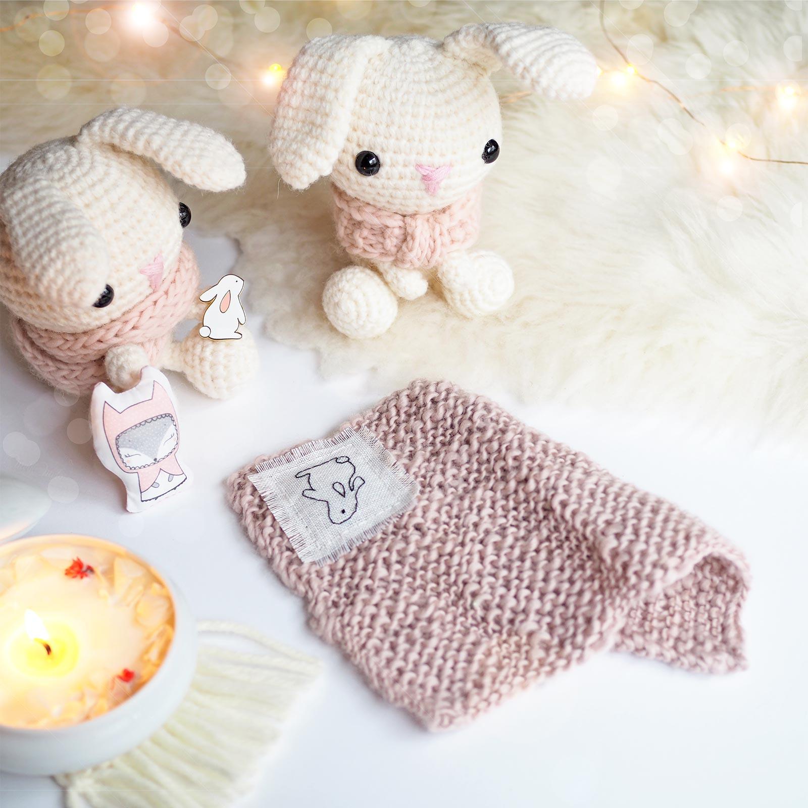 lapin lapins crochet plaid tricot doudou kawai laboutiquedemelimelo