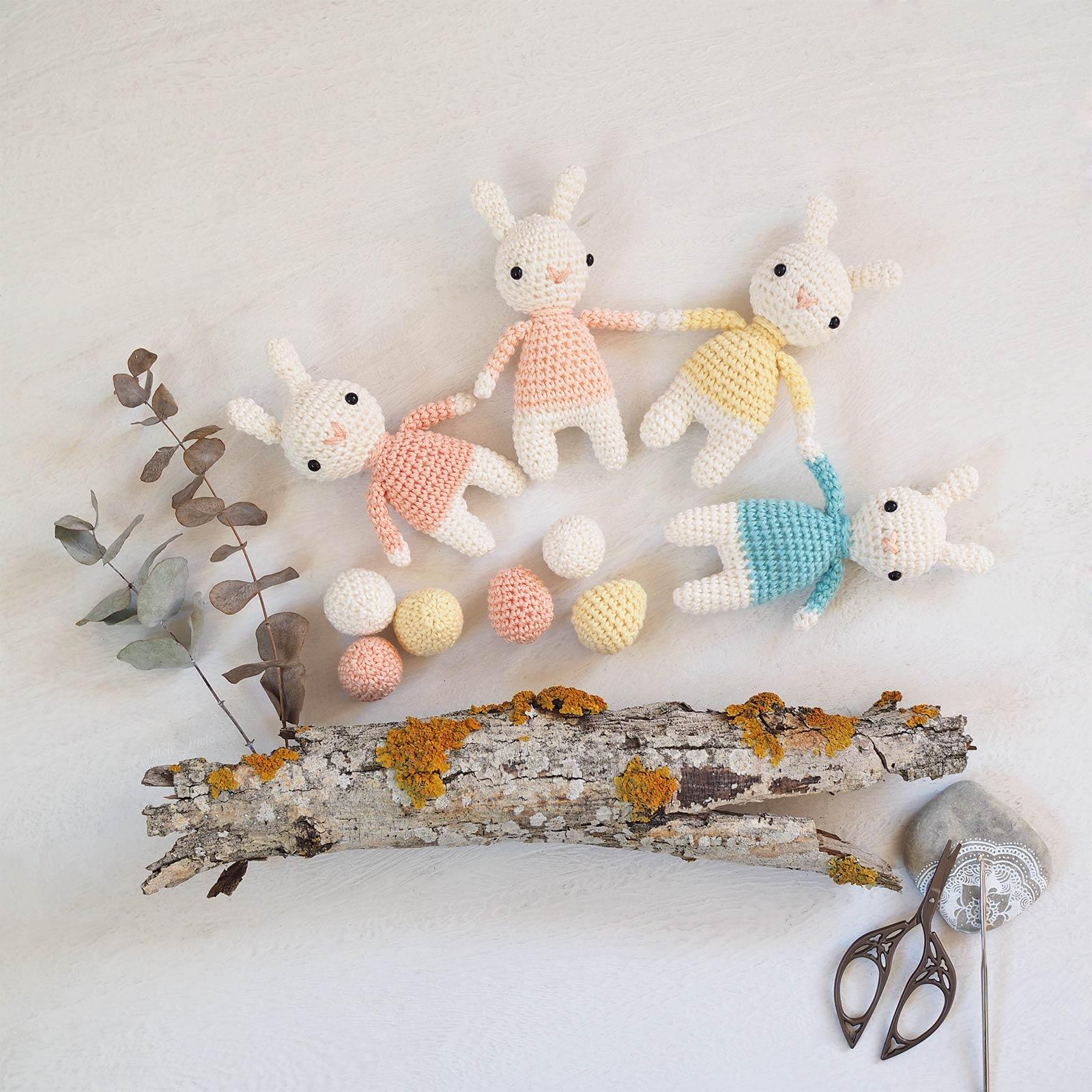 lapins oeufs couleurs pastel crochet printemps Pâques laboutiquedemelimelo