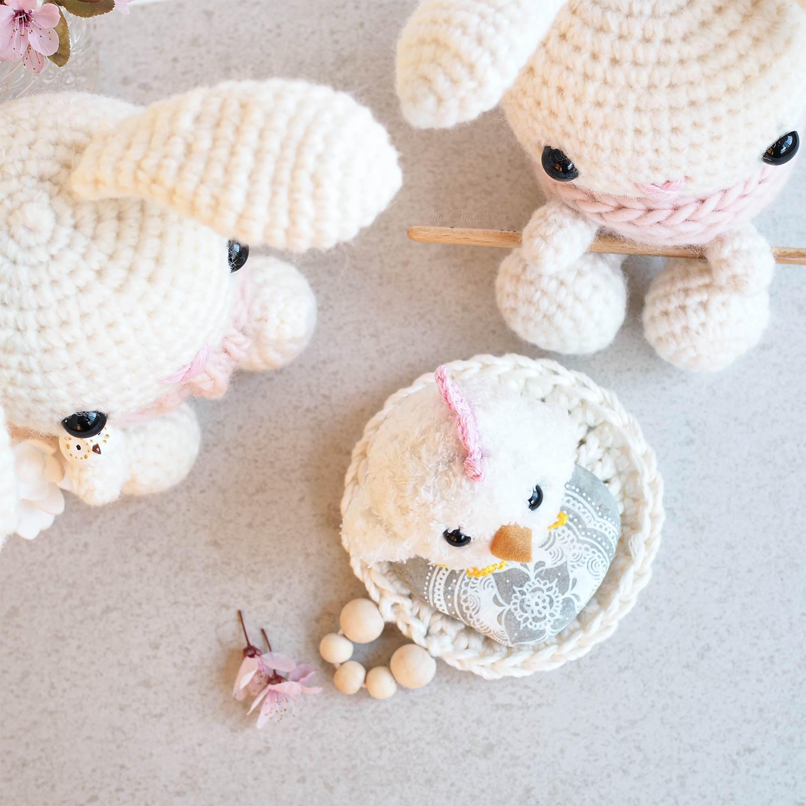 lapins poussin crochet printemps Pâques laboutiquedemelimelo