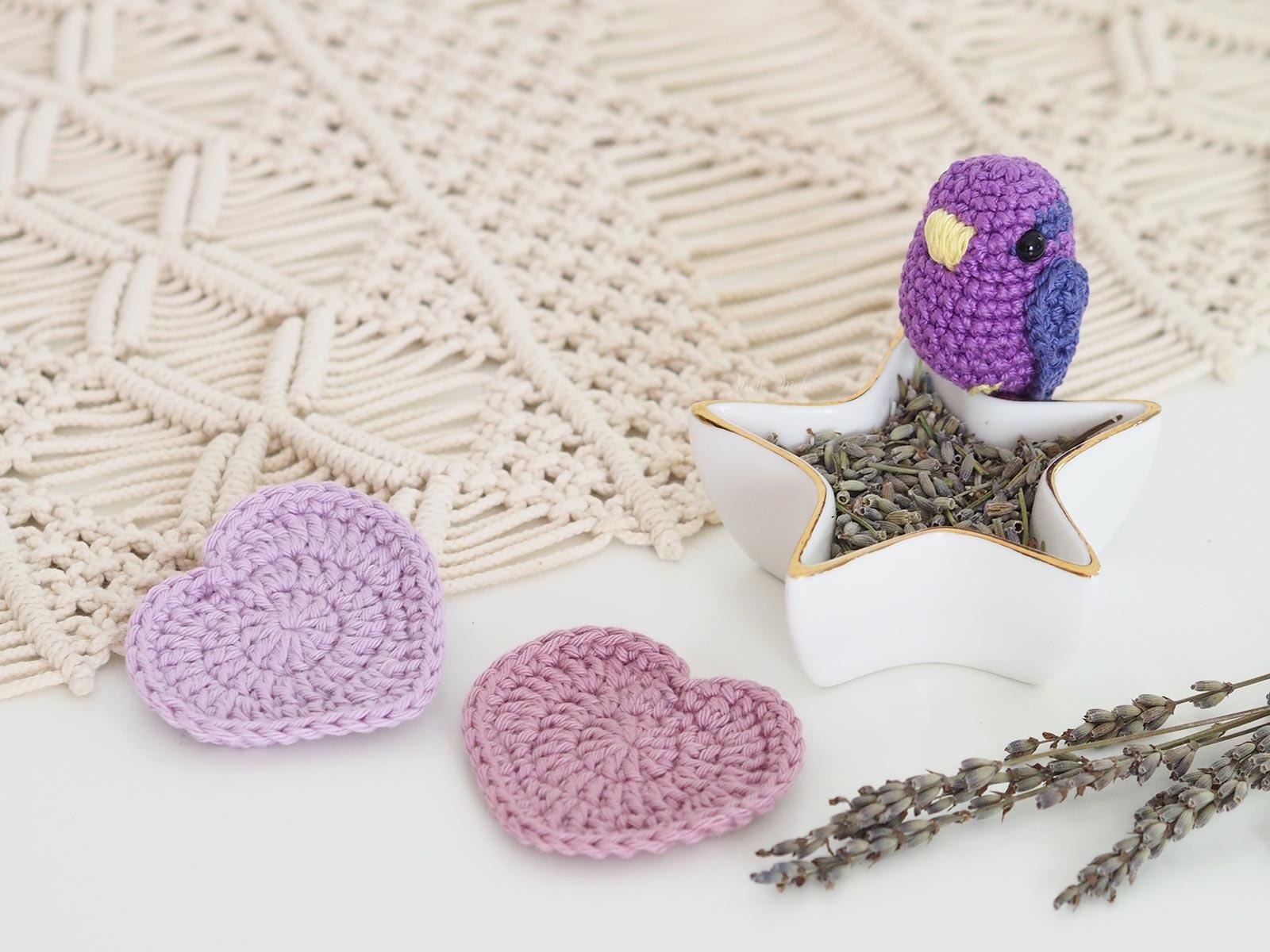 lavande crochet oiseau lingette coeurs laboutiquedemelimelo
