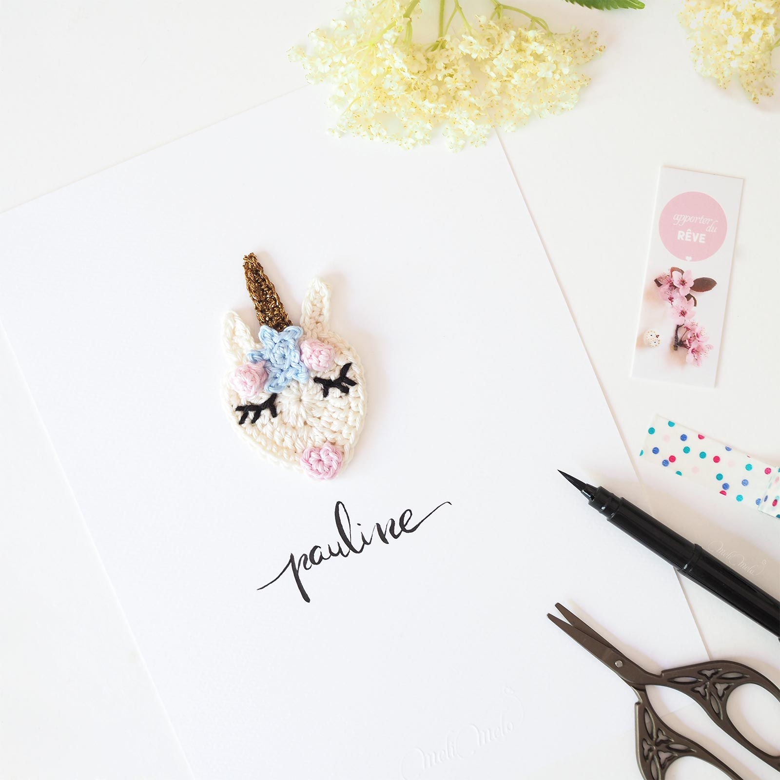 Affiche calligraphiée licorne crochet pauline La Boutique de MeliMelo