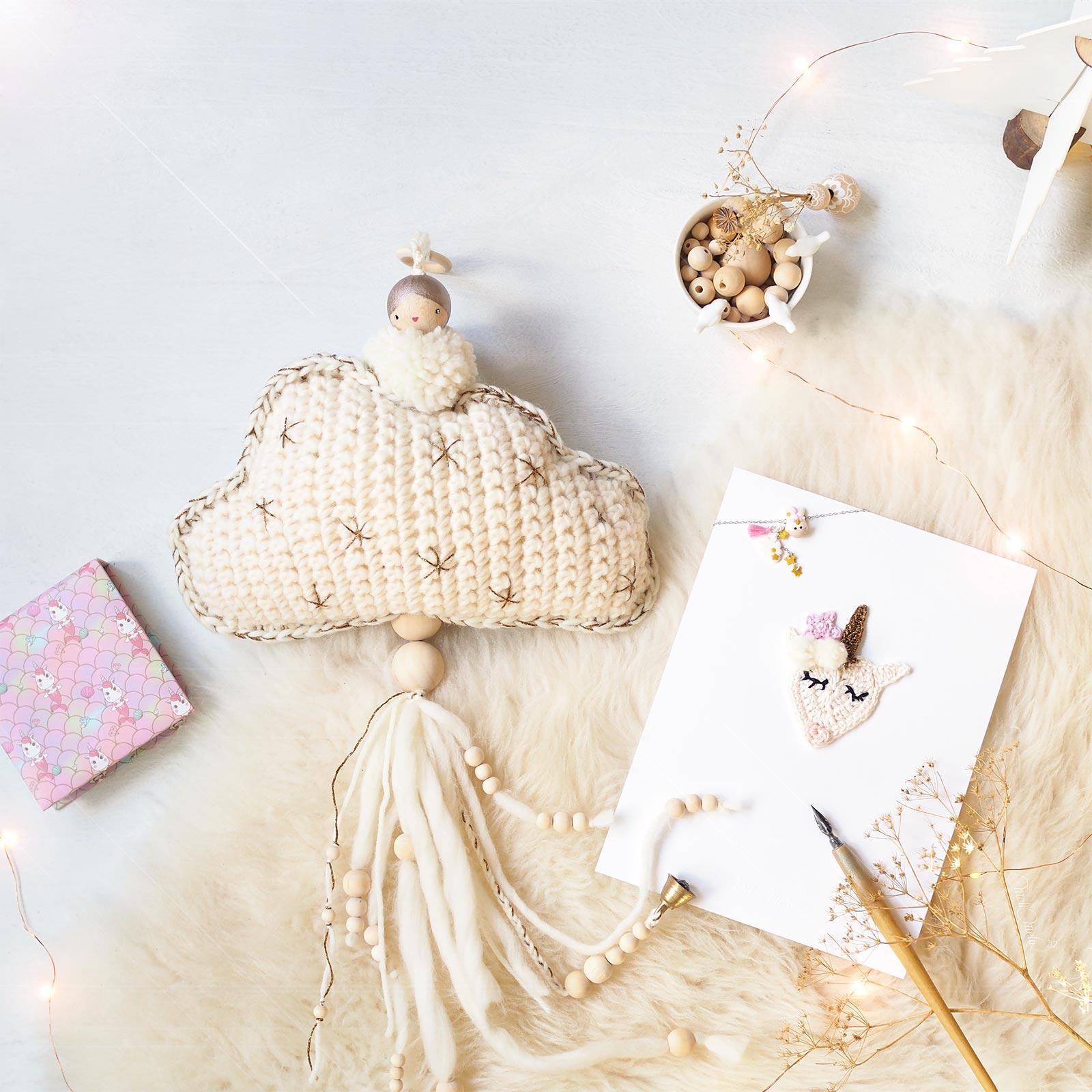 lot Noël fée Pois Plumes nuage licorne affiche crochet laboutiquedemelimelo