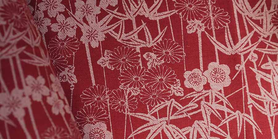 tissu japonais bambous Shikurin red laboutiquedemelimelo