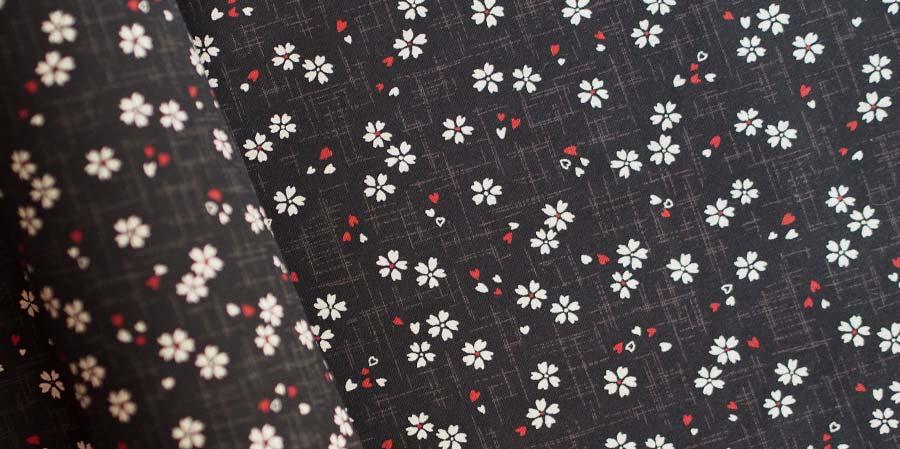 tissu japonais cerisiers Sakura black laboutiquedemelimelo