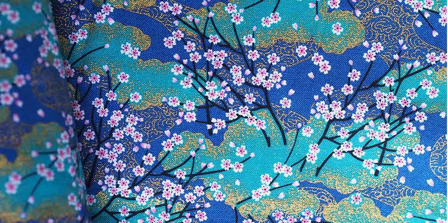 tissu japonais cerisiers Sakura blue laboutiquedemelimelo