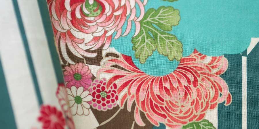 tissu japonais dahlias Sen Biscay Bay laboutiquedemelimelo
