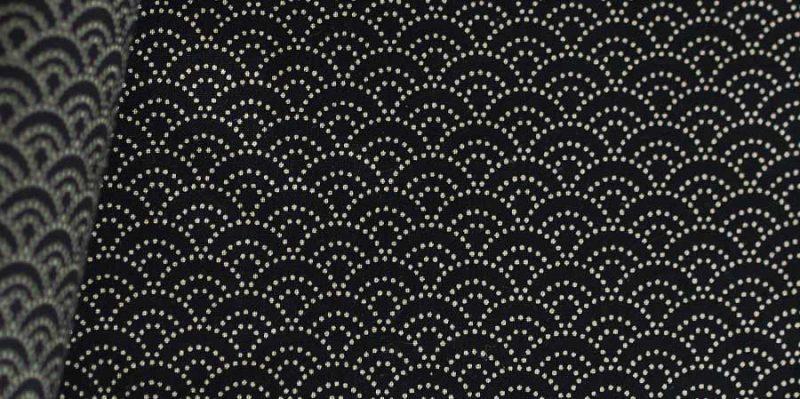 tissu japonais ondes Seikaiha black laboutiquedemelimelo