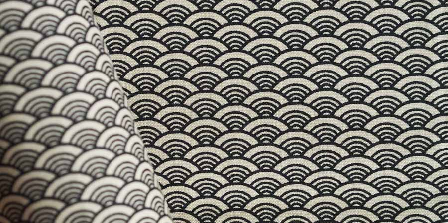 tissu japonais ondes Seikaiha ivory laboutiquedemelimelo