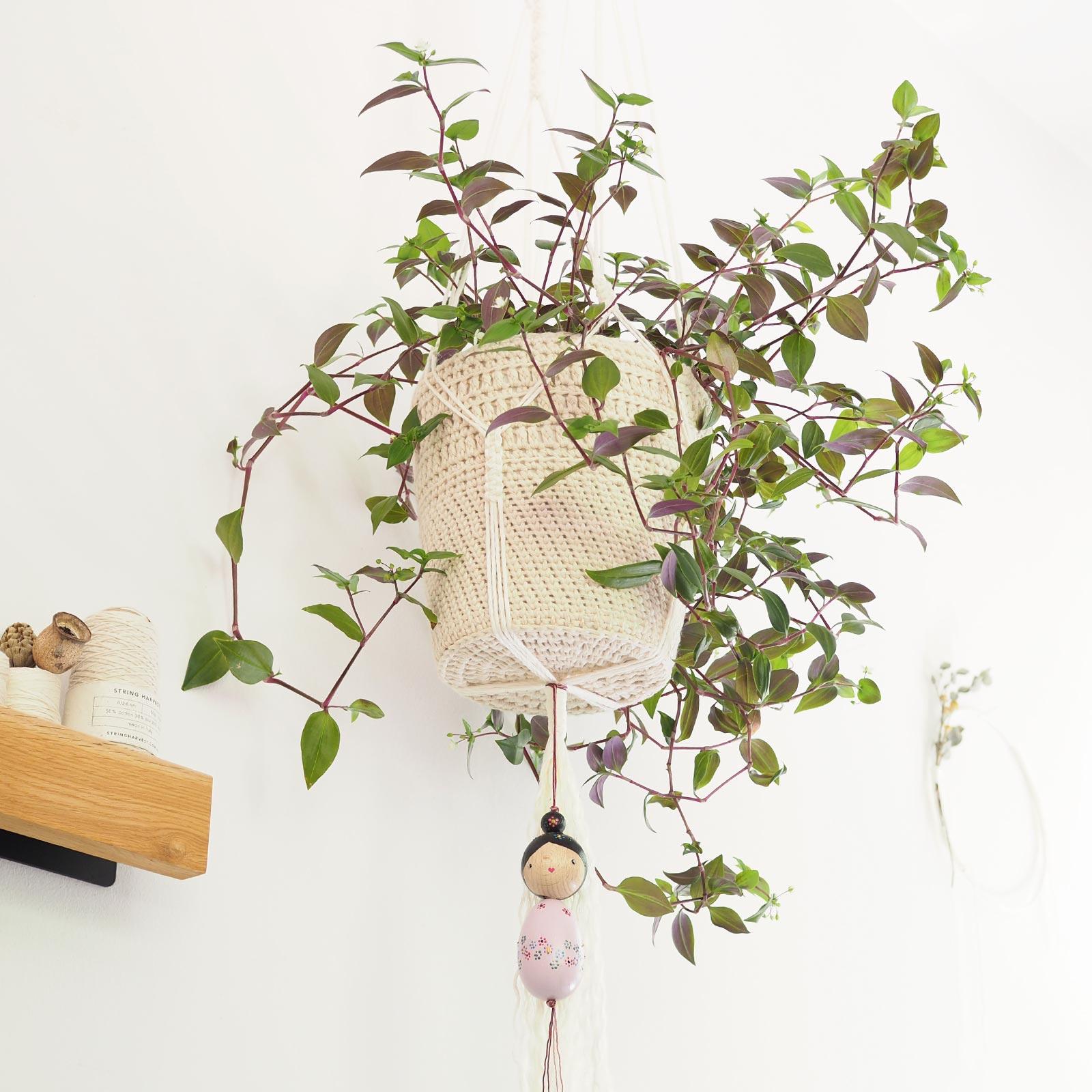 macramé coton crochet lin plant hanger misere Fluminensis Pink Hill laboutiquedemelimelo