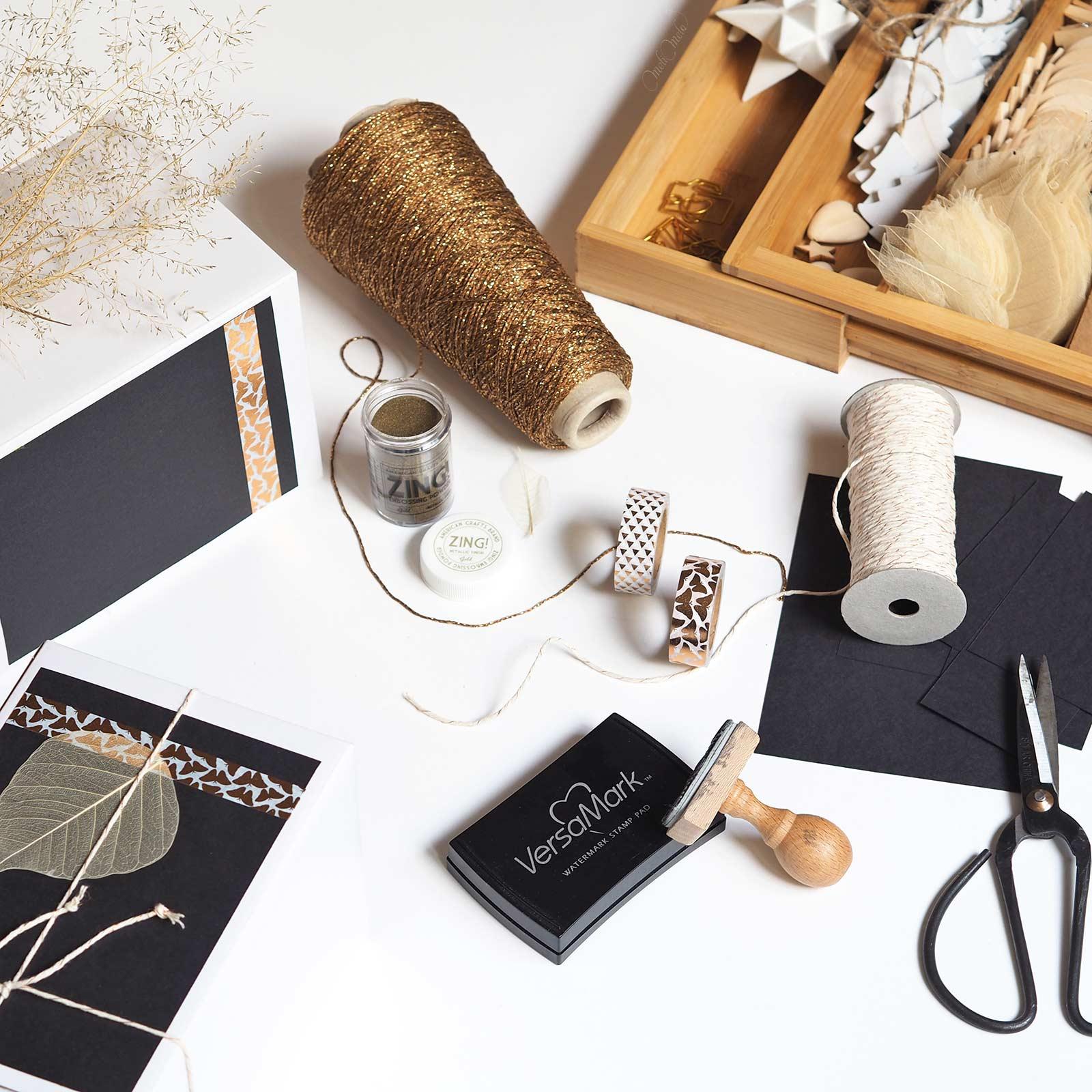 magie décembre Noël petits paquets noir et or black gold versafine crafts laboutiquedemelimelo