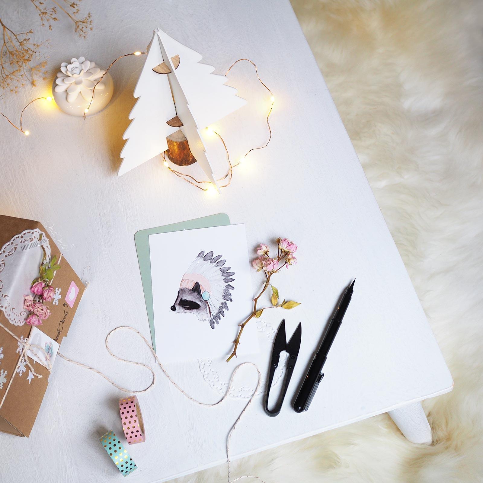 magie décembre Noël petits paquets rose et mint laboutiquedemelimelo