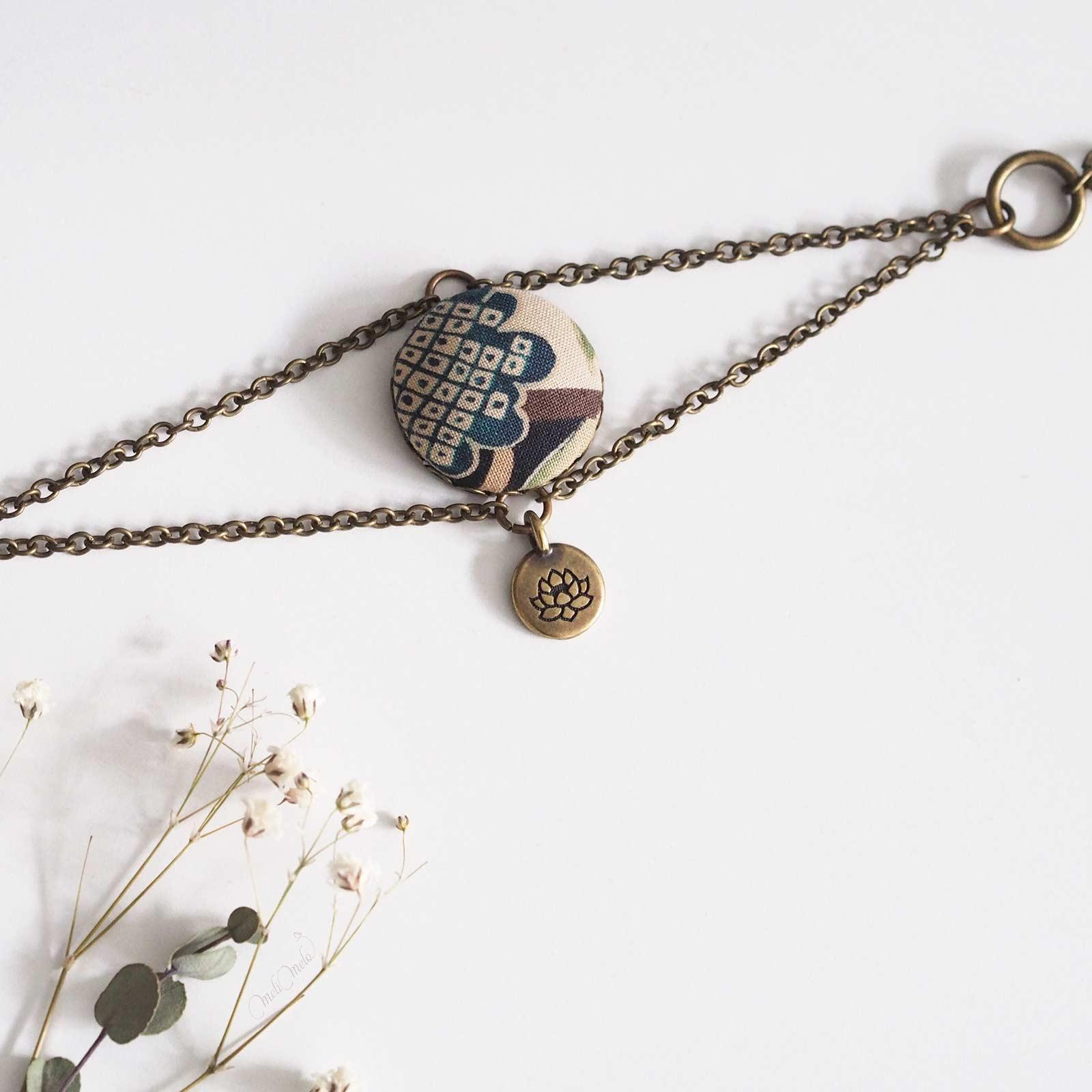 bracelet Corolle lotus tissu japonais laboutiquedemelimelo