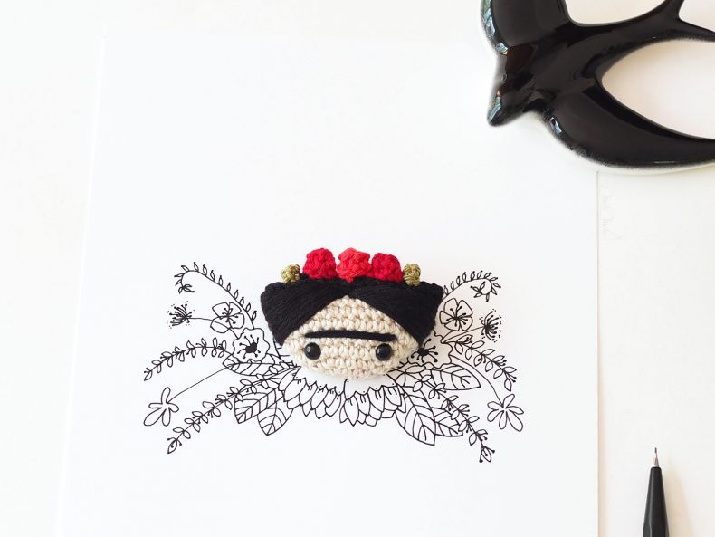 illustration mélimélotée encre chine crochet Frida Kahlo laboutiquedemelimelo