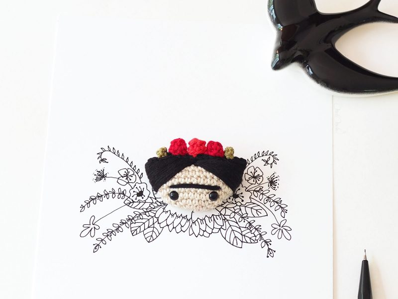 illustration mélimélotée encre chine crochet Frida Kahlo laboutiquedemelimelo
