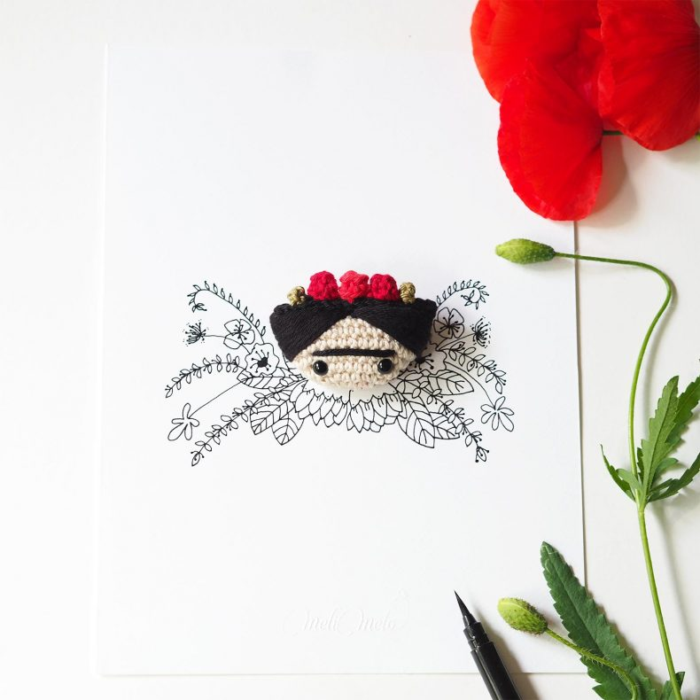 Frida Kahlo couronne fleurs coquelicot MeliMelo illustration ink drawing crochet laboutiquedemelimelo