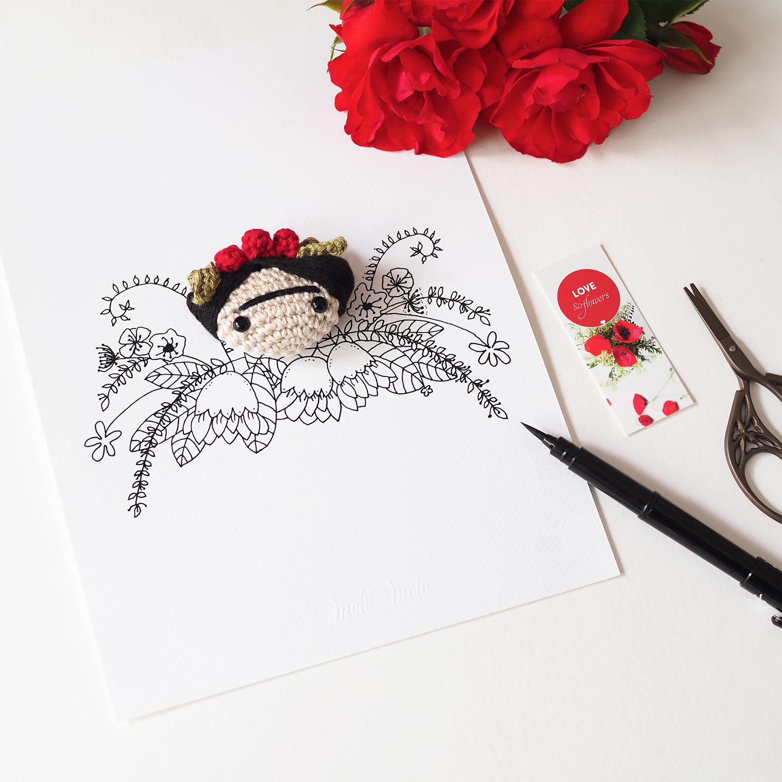 Frida Kahlo couronne fleurs rose feuilles MeliMelo illustration ink drawing crochet laboutiquedemelimelo