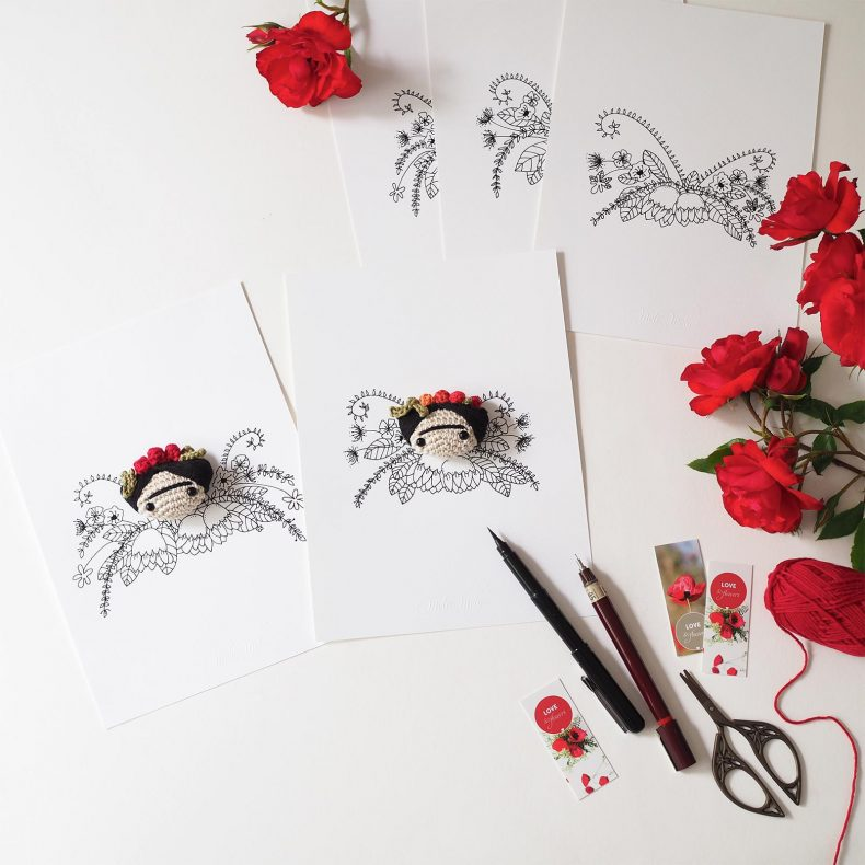 couronne fleurs rose feuilles Frida Kahlo MeliMelo illustration ink drawing crochet laboutiquedemelimelo