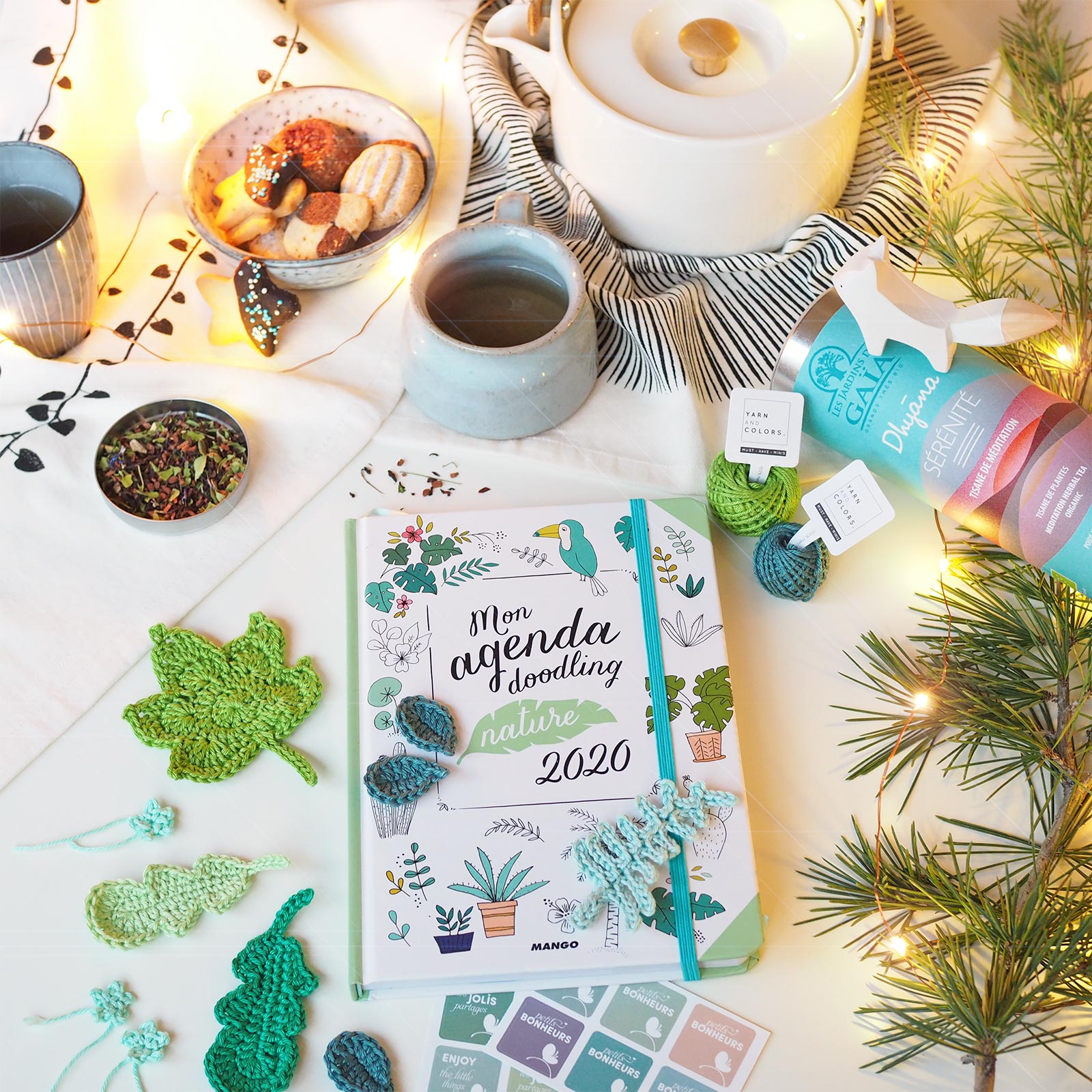 melimelothe-infusion-jardins-gaia-crochet agenda doodling nature 2020 Editions Mango boutique melimelo