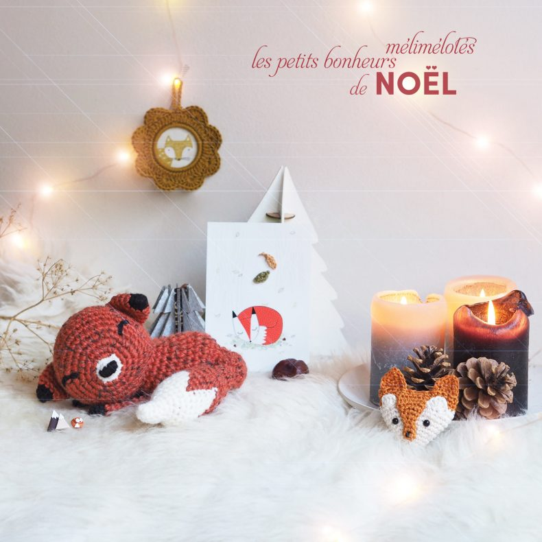 mignonnerie renard roux lot Noël crochet illustration pins idée cadeau laboutiquedemelimelo