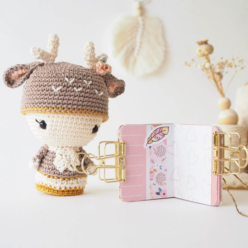 mini album scrapbooking rose or pink gold crochet annie deer iririestudio charuca laboutiquedemelimelo