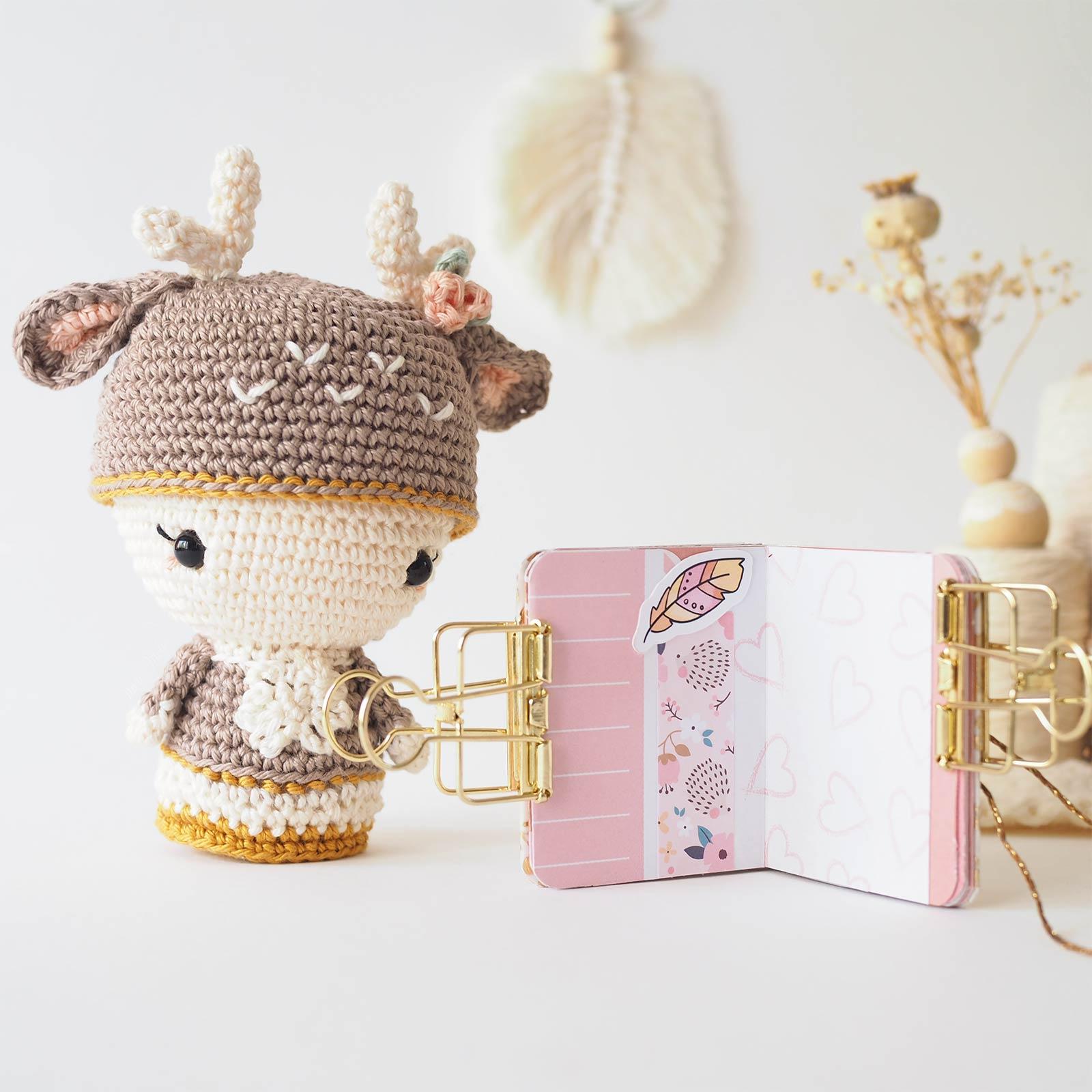 mini album scrapbooking rose or pink gold crochet annie deer iririestudio charuca laboutiquedemelimelo