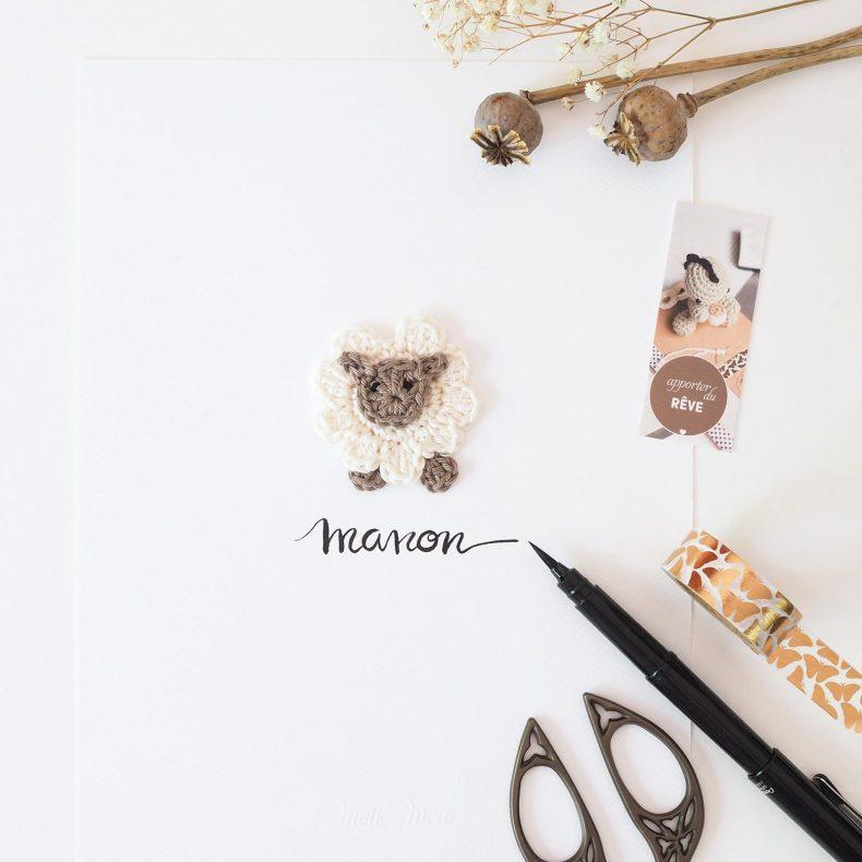 Affiche calligraphiée mouton crochet Manon La Boutique de MeliMelo