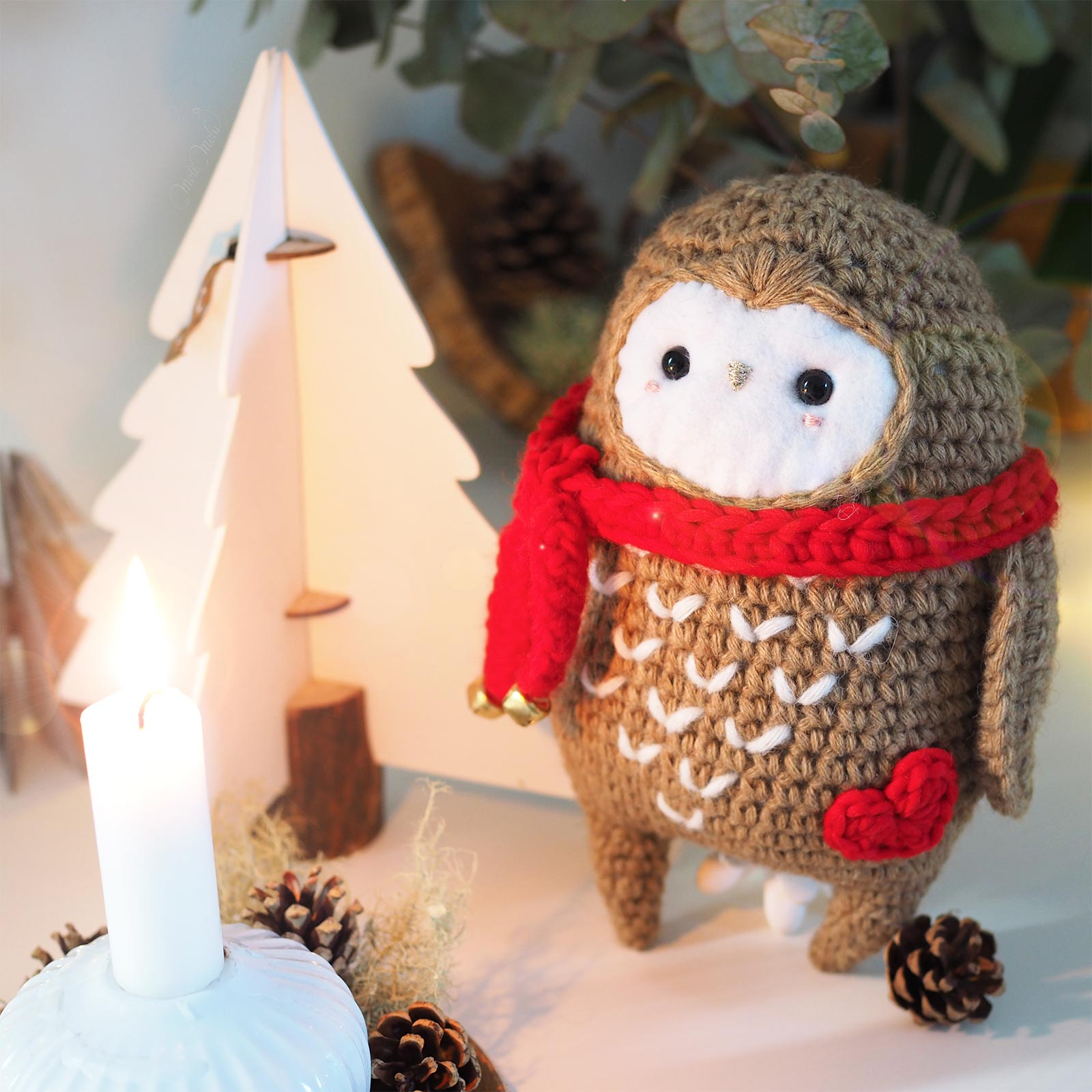 Noël crochet chouette owl écharpe coeur rouge The Petite Wool We Are Knitters boutique melimelo