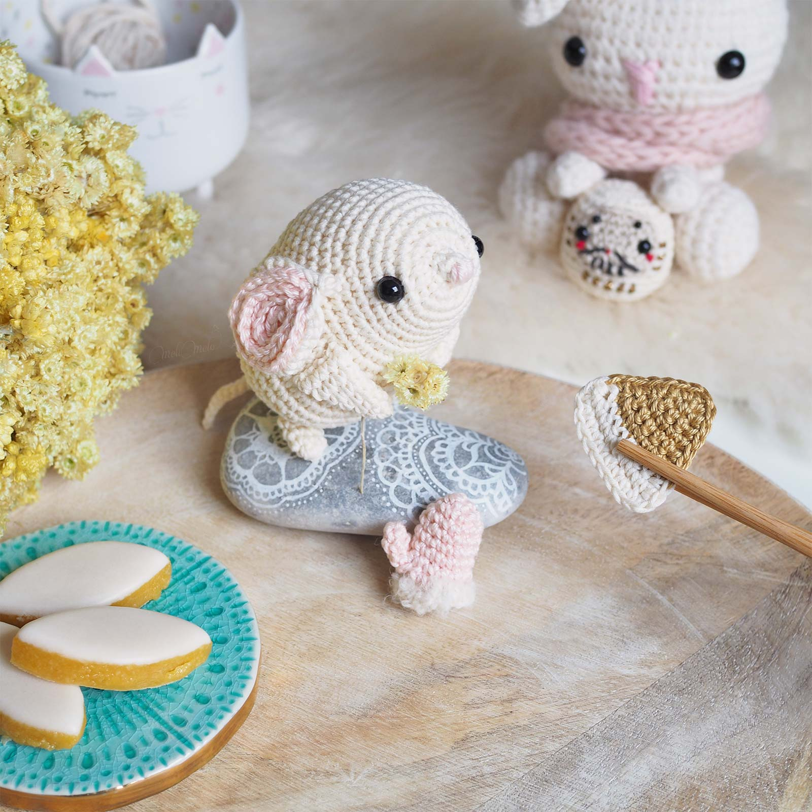 nouvel an rat crochet amigurumi souris Boutique MeliMelo