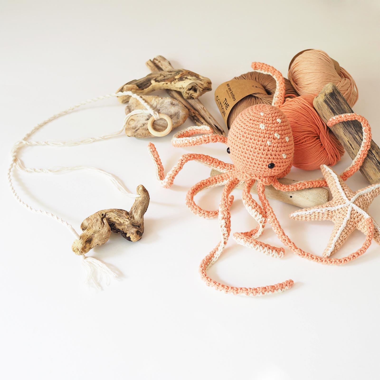 octopus pieuvre poulpe crochet ceropegia woodii bois flotté laboutiquedemelimelo