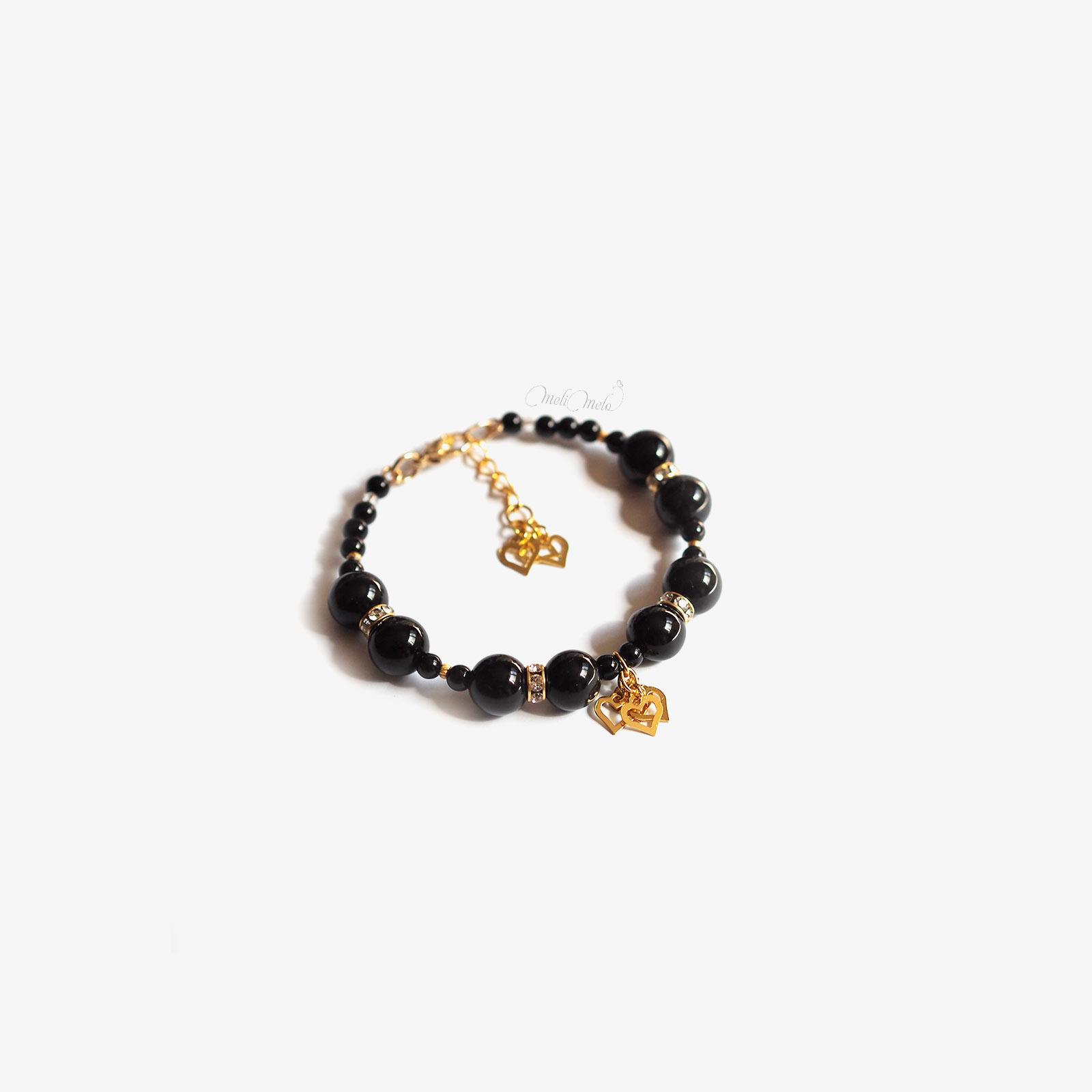 bracelet onyx cristal Swarovski coeurs plaqué or laboutiquedemelimelo