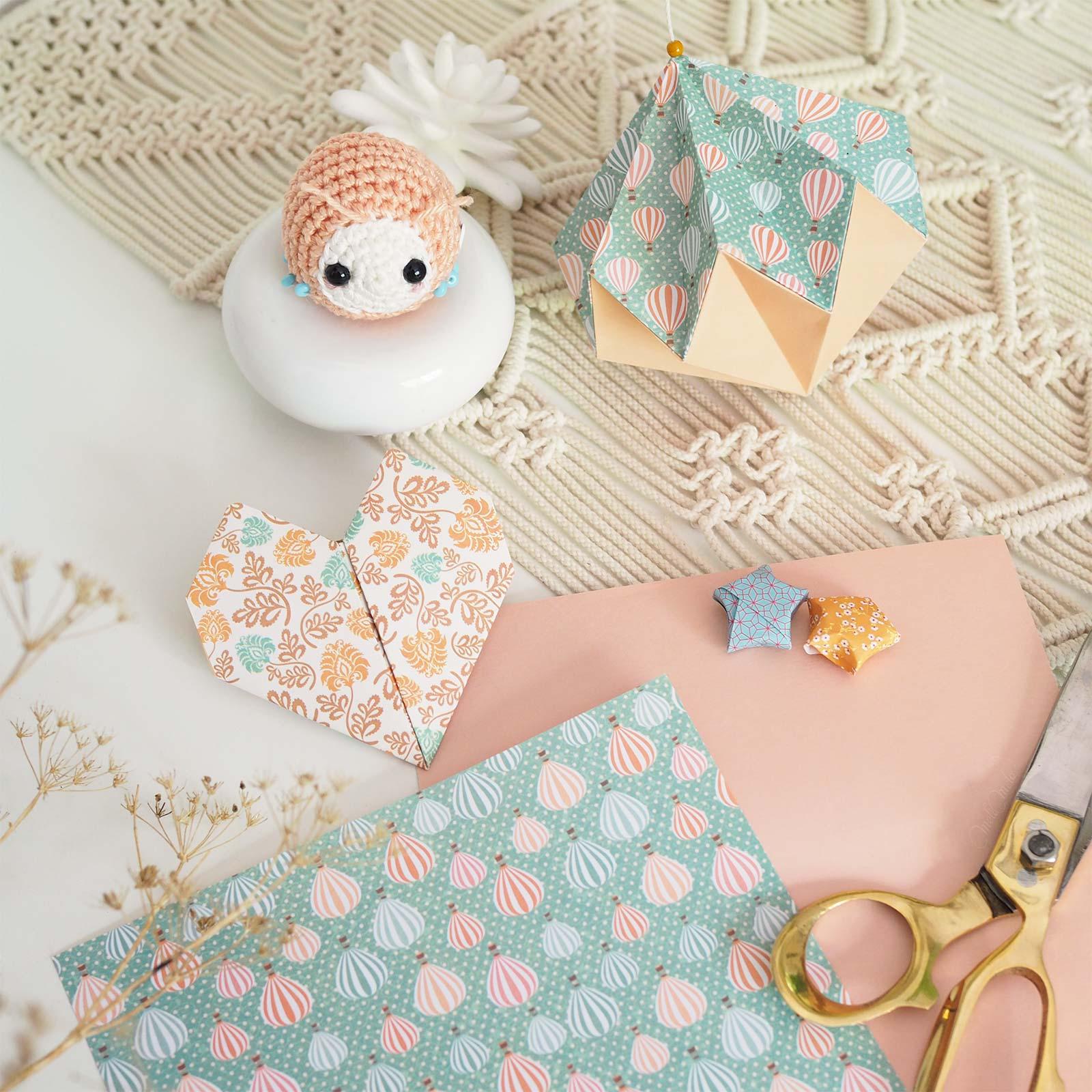 origami papier coeur diamant puceron crochet amulette de poche laboutiquedemelimelo