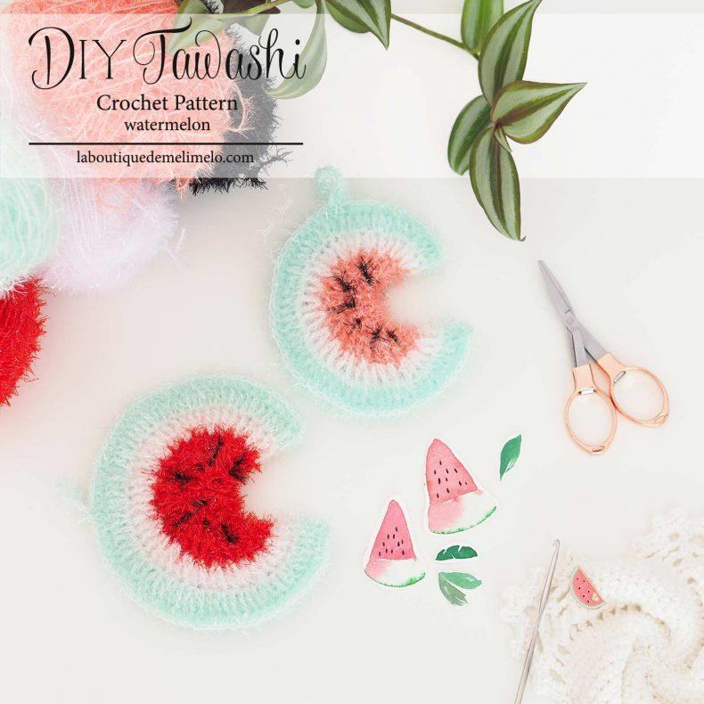 pattern scrubber watermelon crochet kit DIY tawashi laboutiquedemelimelo