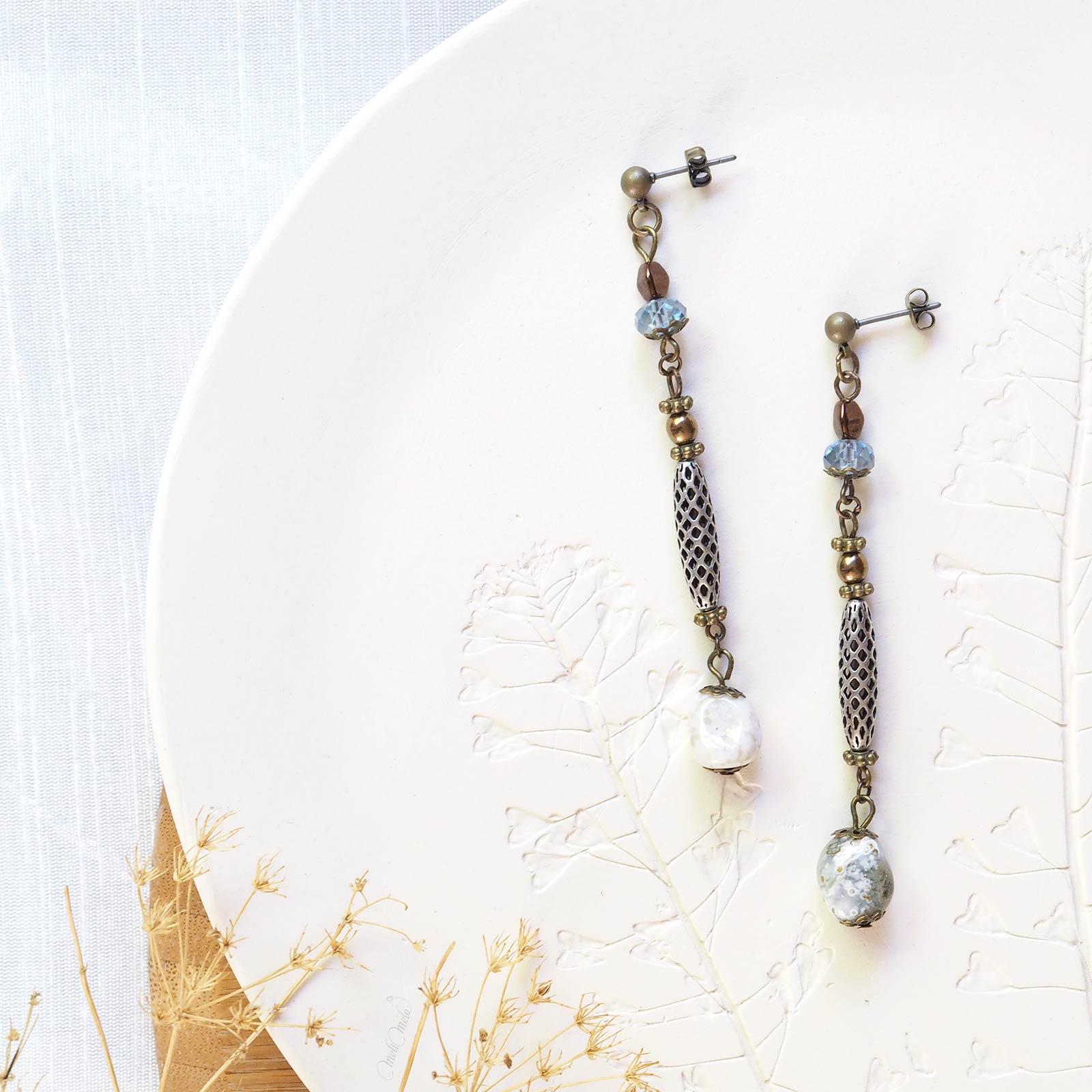 pendants oreilles HO Cristal Swarovski Preciosa gemmes Corail laboutiquedemelimelo