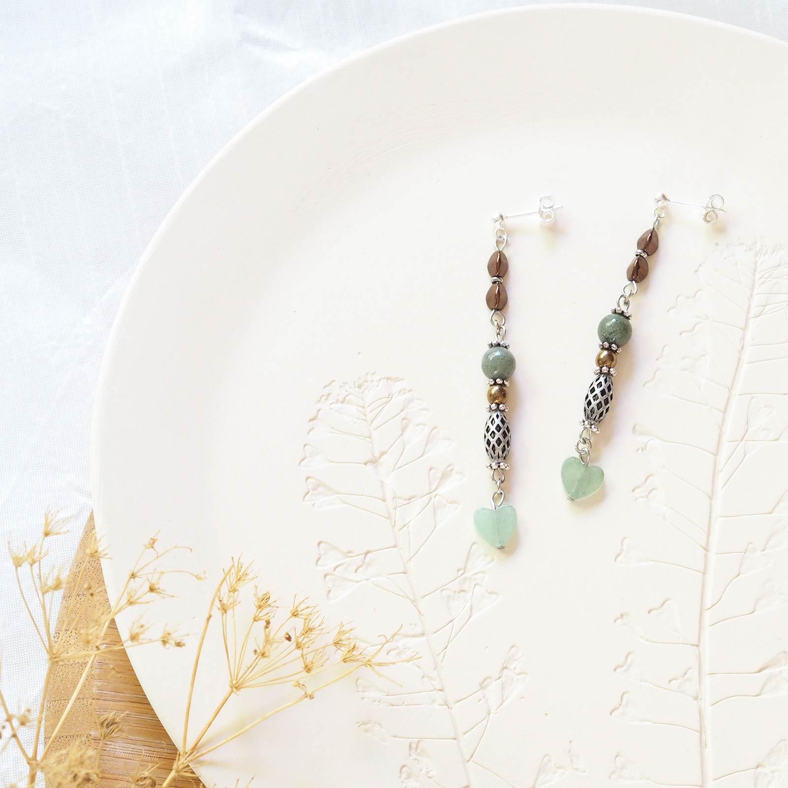 pendants boucles oreilles HO Cristal de Swarovski gemmes Mookaïte Aventurine vert laboutiquedemelimelo
